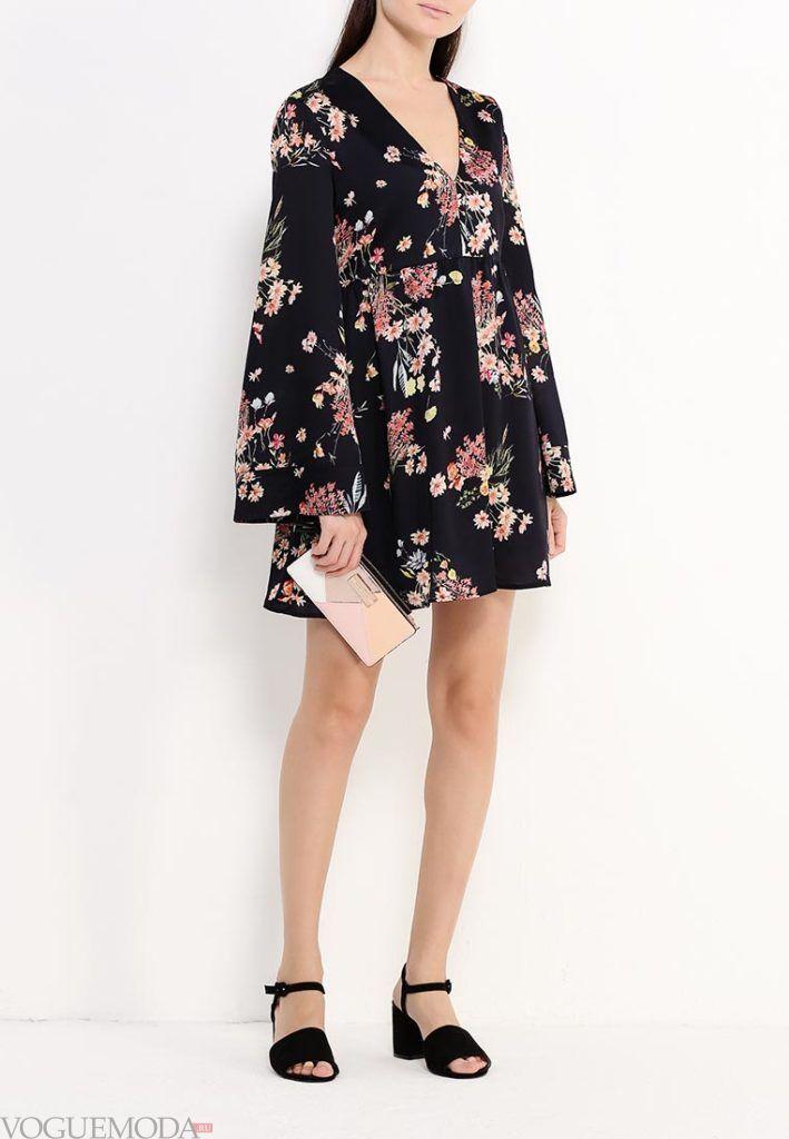 модное платье в цветочек