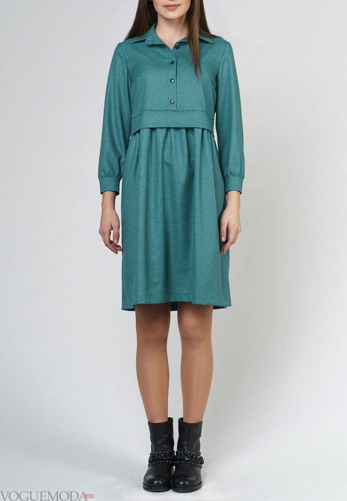модное платье зеленое