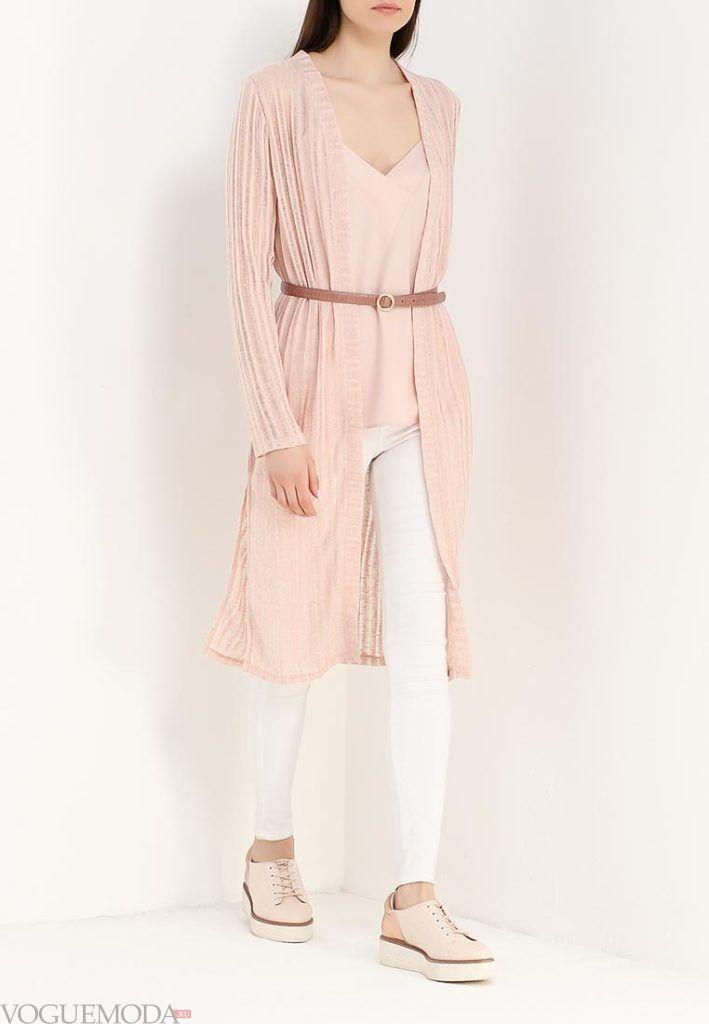 модный кардиган розовый