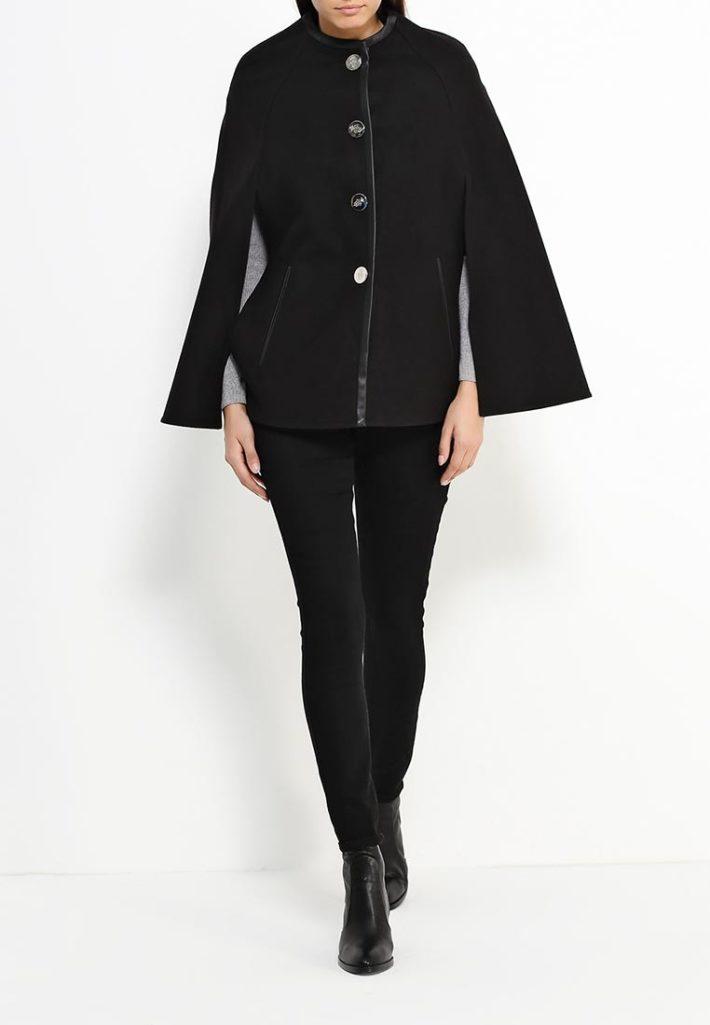 модное пончо черное
