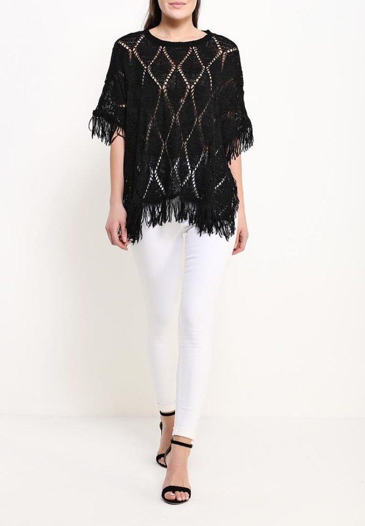 модное пончо вязаное