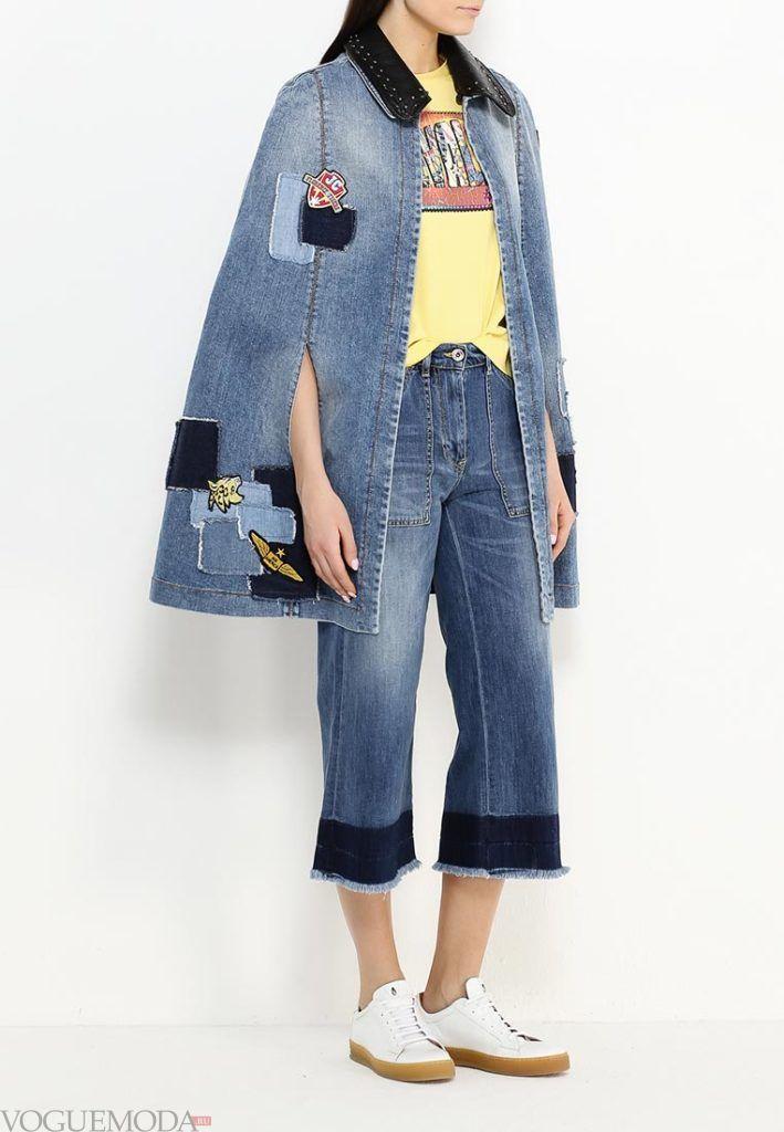 модное пончо джинсовое