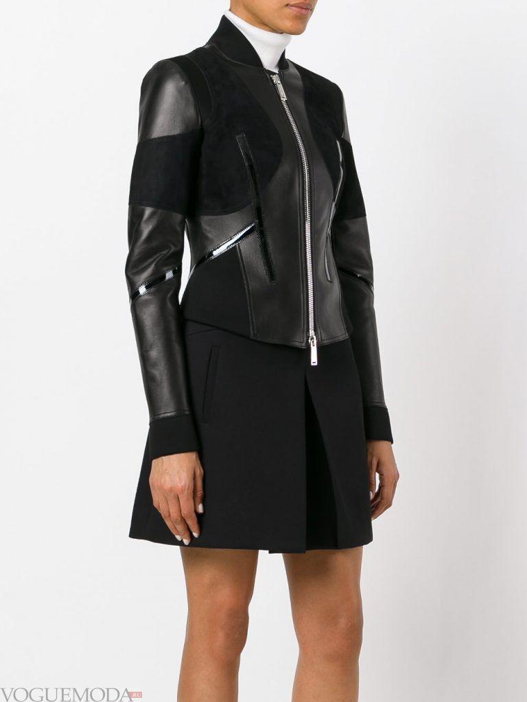 кожаная куртка комбинированная