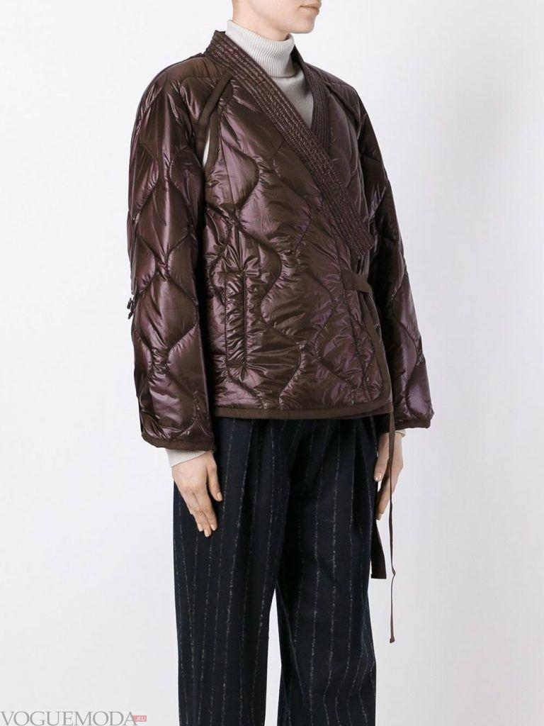 стеганая куртка коричневая