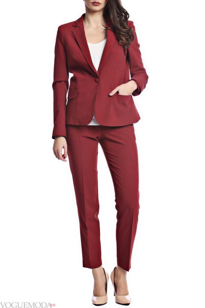 костюм осень зима бордовый
