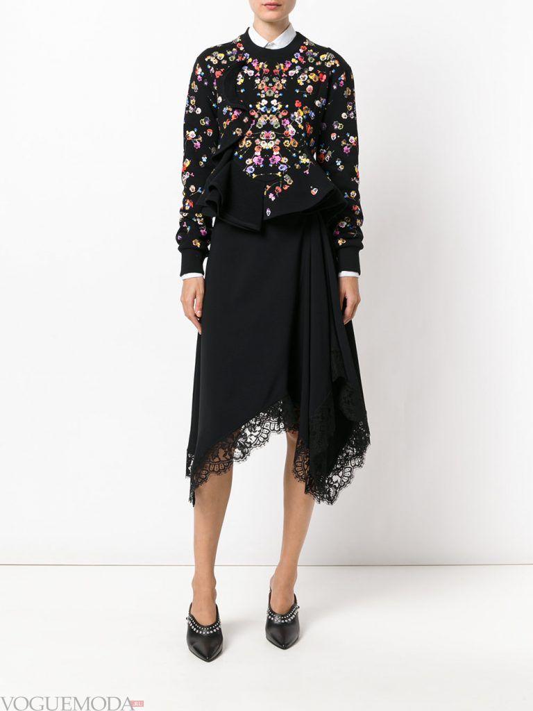 юбка осень зима с кружевом