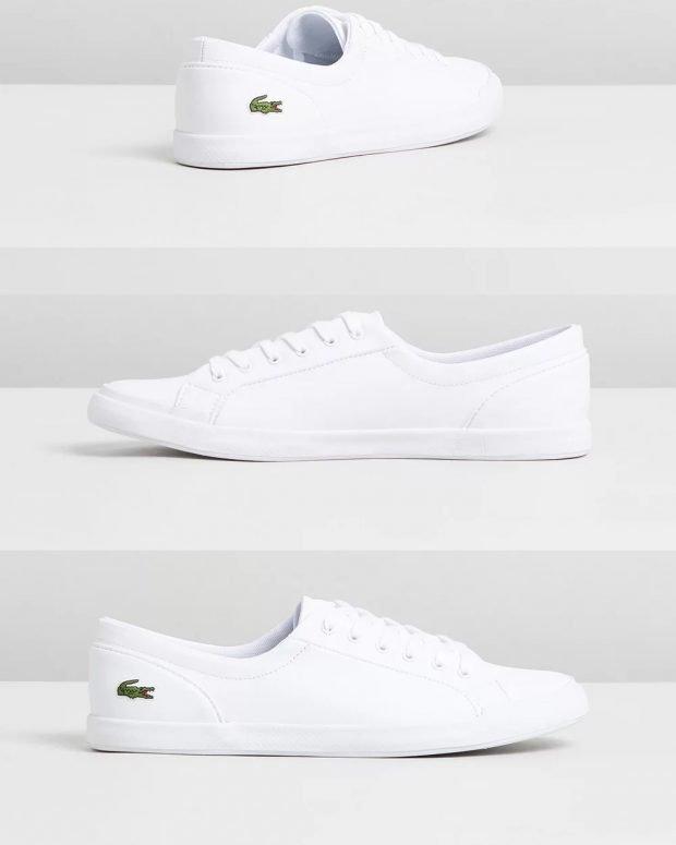 женские кроссовки 2021: белые lacoste
