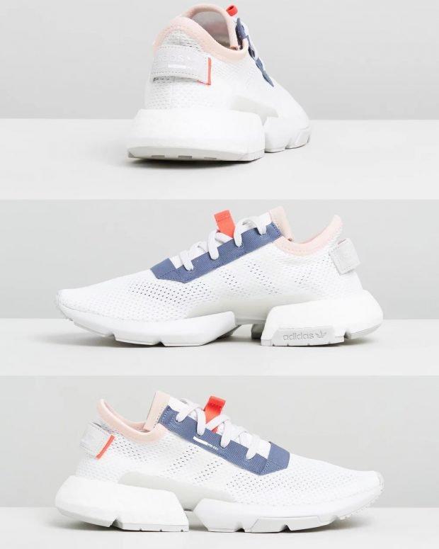 женские кроссовки 2021: белые adidas originals синяя вставка