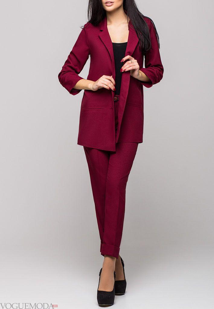брючный костюм бордо