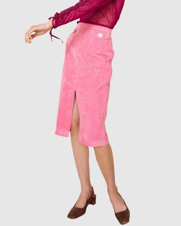 юбки осень зима 2019 2020 года: розовая с карманом
