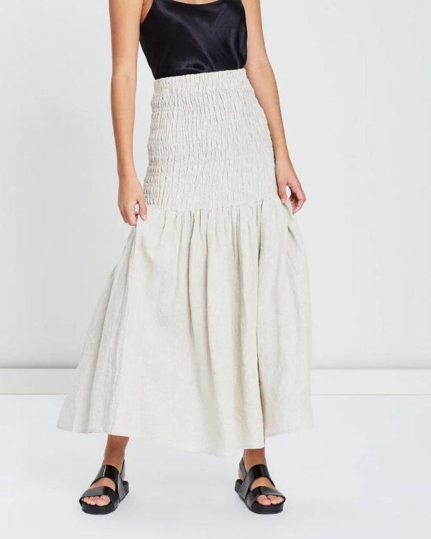 юбки осень зима 2020 года: белая длинная