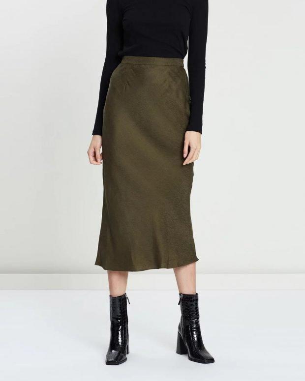 юбки осень зима 2019 2020 года: хаки ниже колена