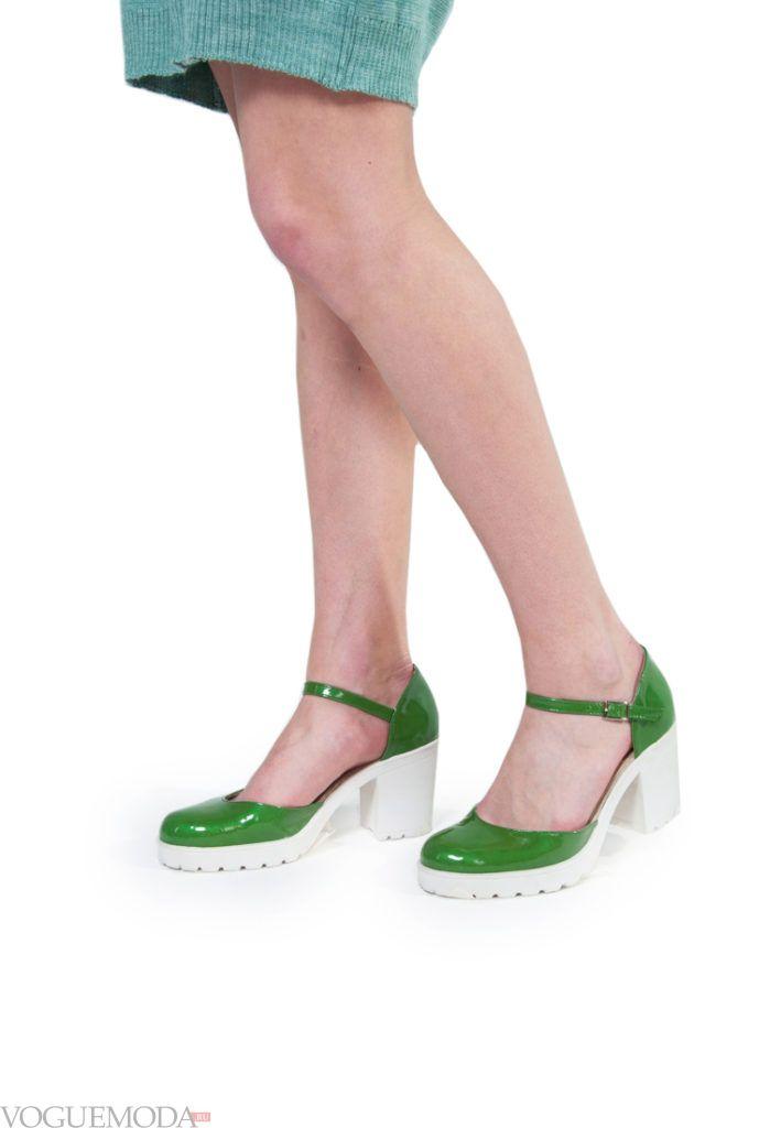 туфли на тракторной подошве зелёные