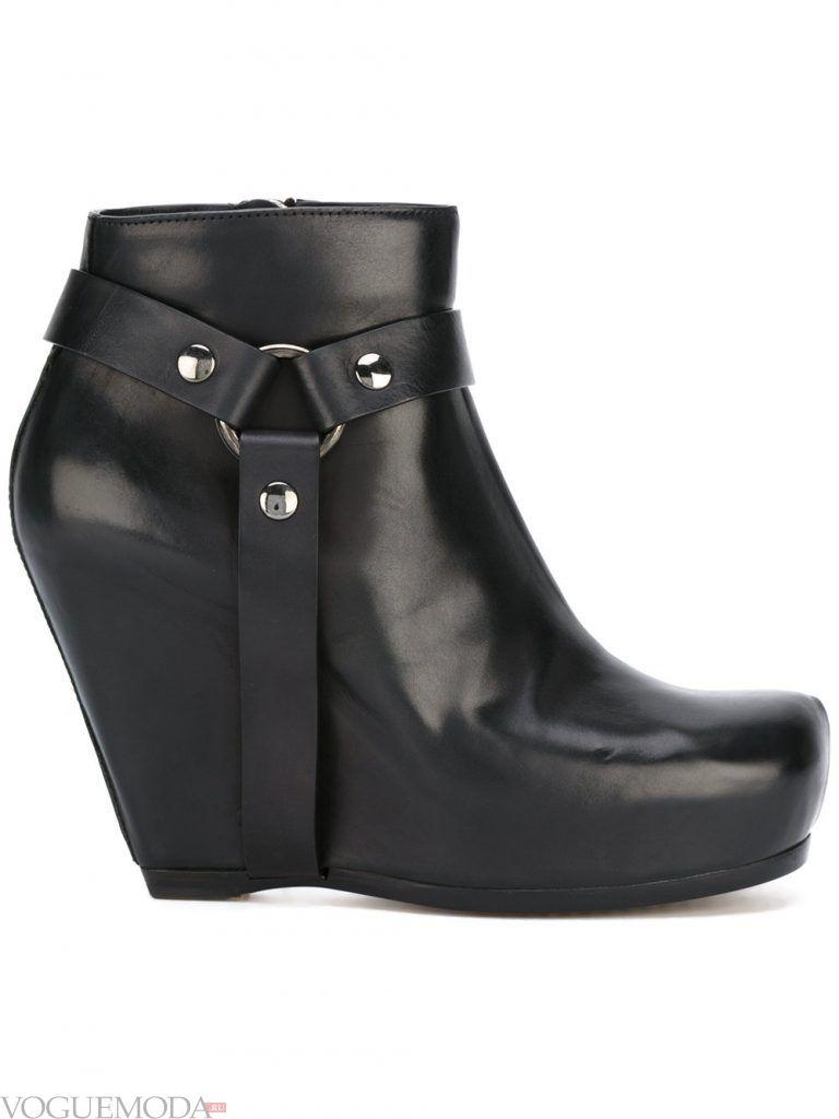 ботинки на танкетке черные