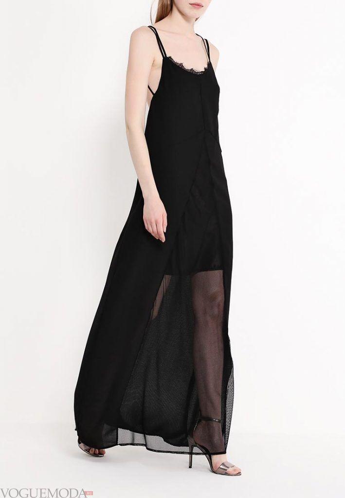 длинный сарафан черный