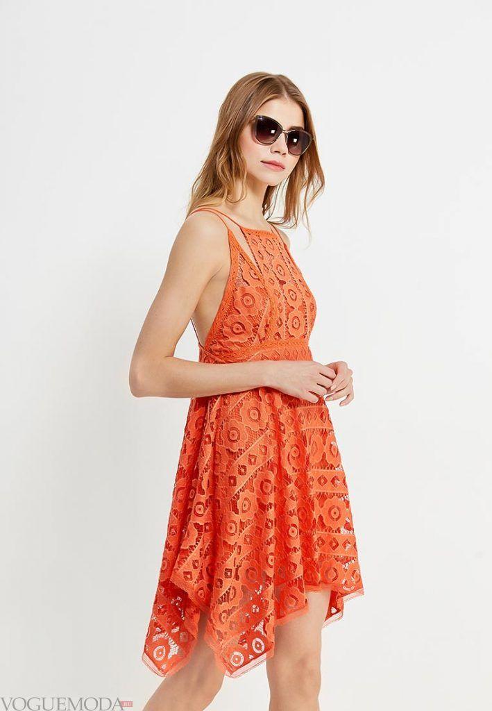 кружевной сарафан оранжевый