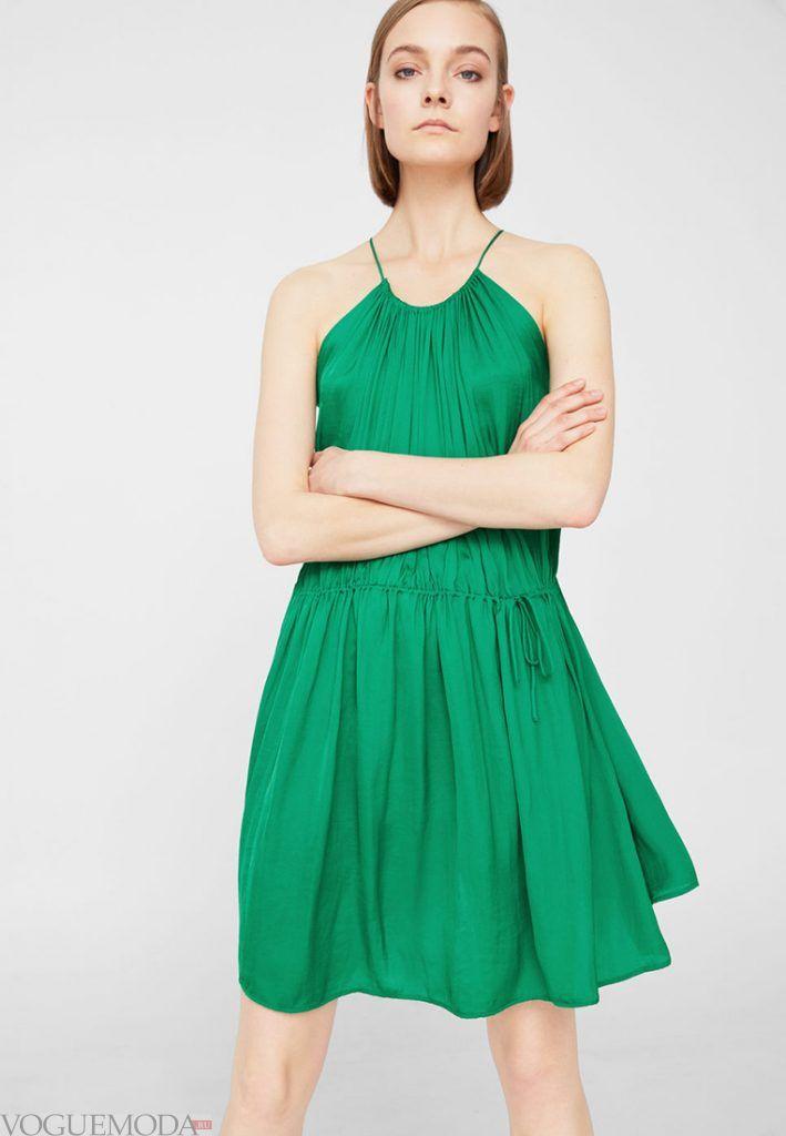сарафан с вырезом халтер зеленый