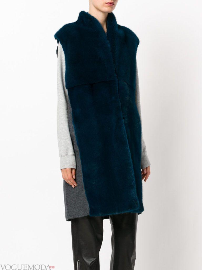 модные шубы: меховая жилетка синяя