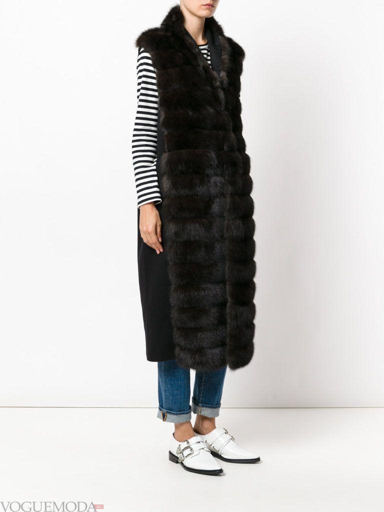 модные шубы: меховая жилетка темная