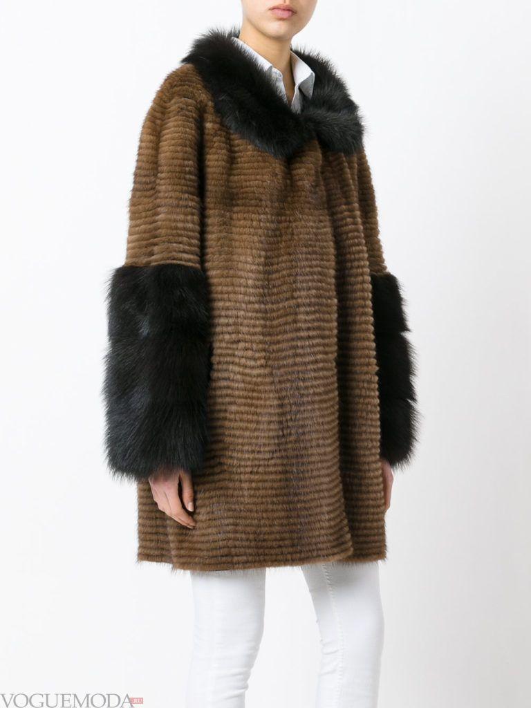 модная шуба: норковая коричневая