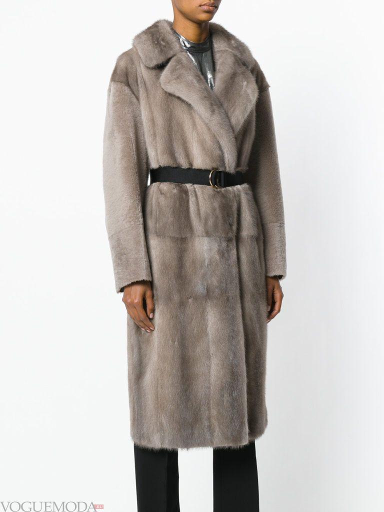 модная шуба: норковая с поясом
