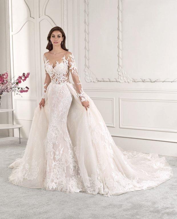 кружевное белое платье пышное