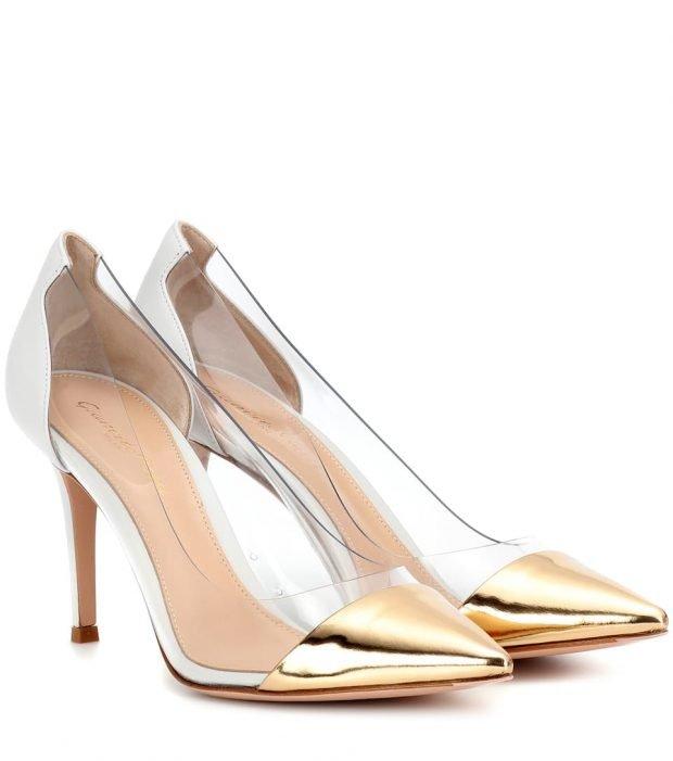 золотые туфли на высокой шпильке