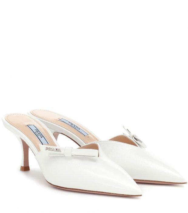 белые туфли на низкой шпильке открытая пятка