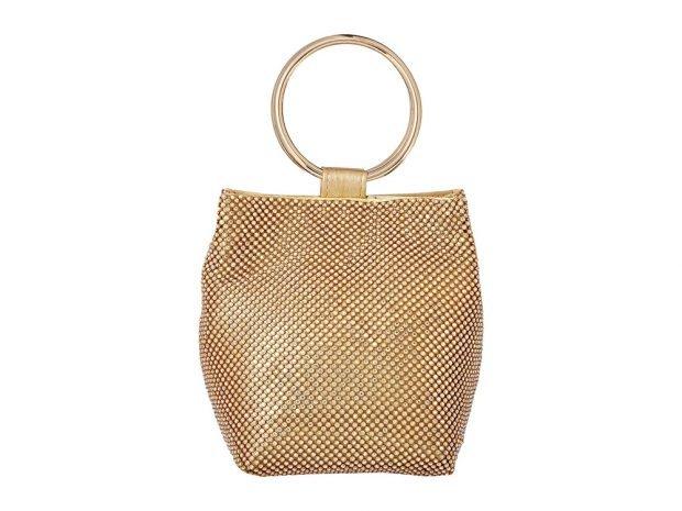золотая сумка с камнями ручка в виде кольца