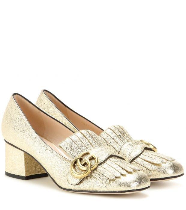 золотые туфли DG на толстом каблуке