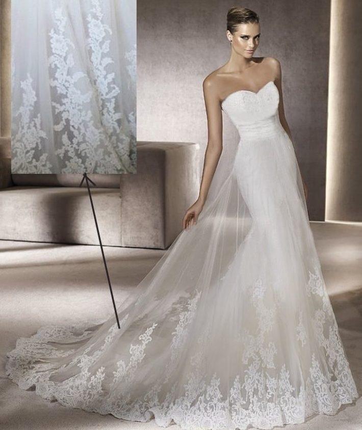свадебные платья: бюстье с фатином