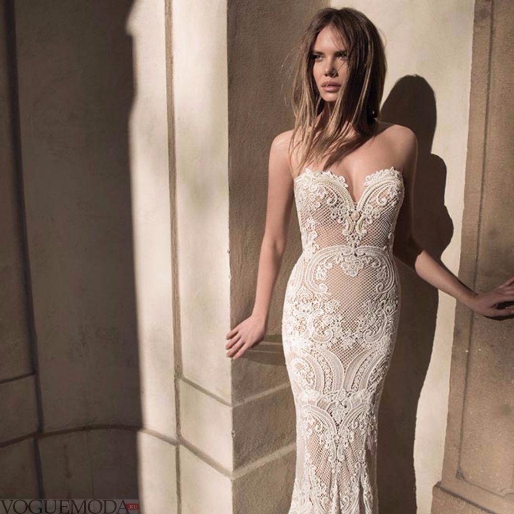 свадебное платье бюстье прямого фасона