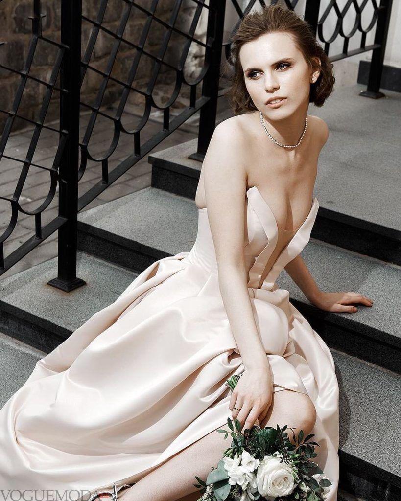 свадебное платье бюстье шелковое