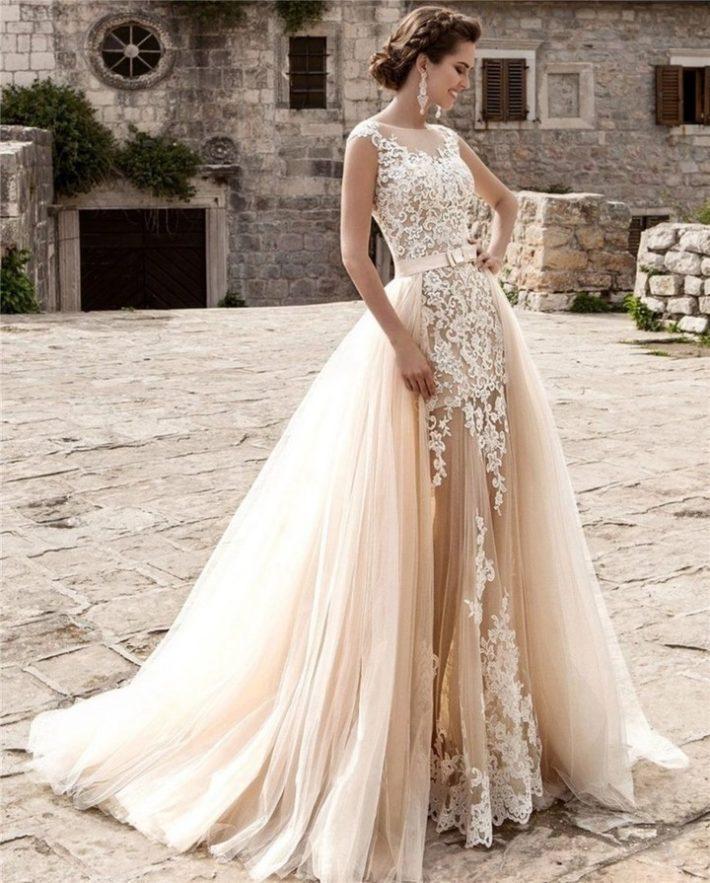 свадебные платья: со шлейфом нюдовое