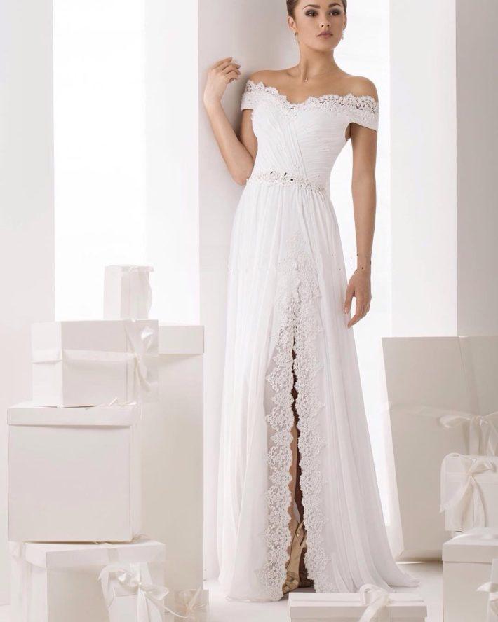 свадебные платья: с разрезом