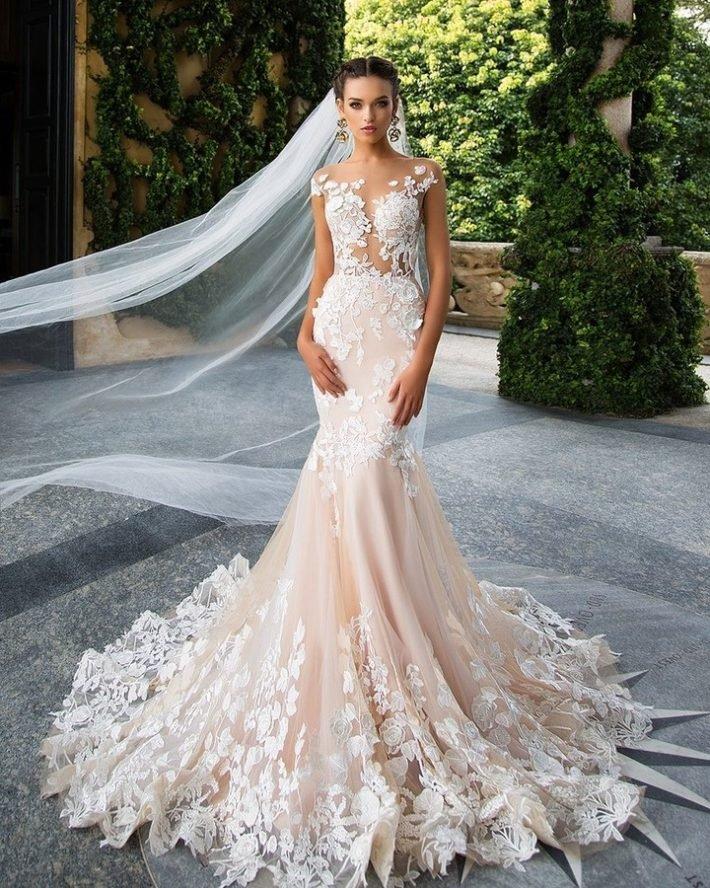 свадебные платья: чайная роза