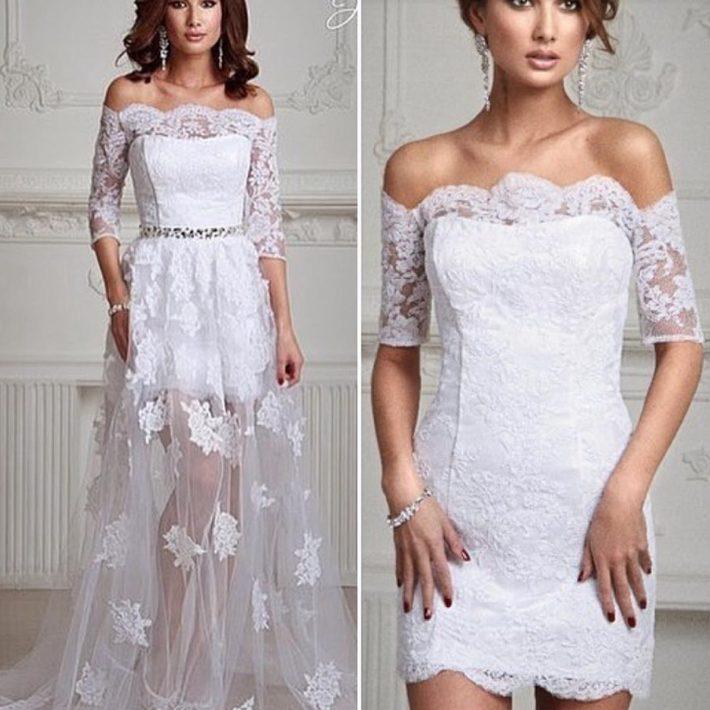 свадебное платье короткое белое