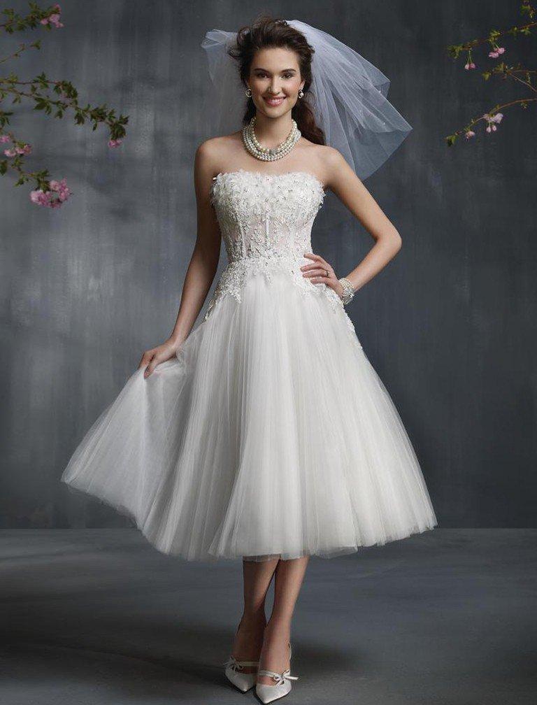 свадебное платье длинна за колено