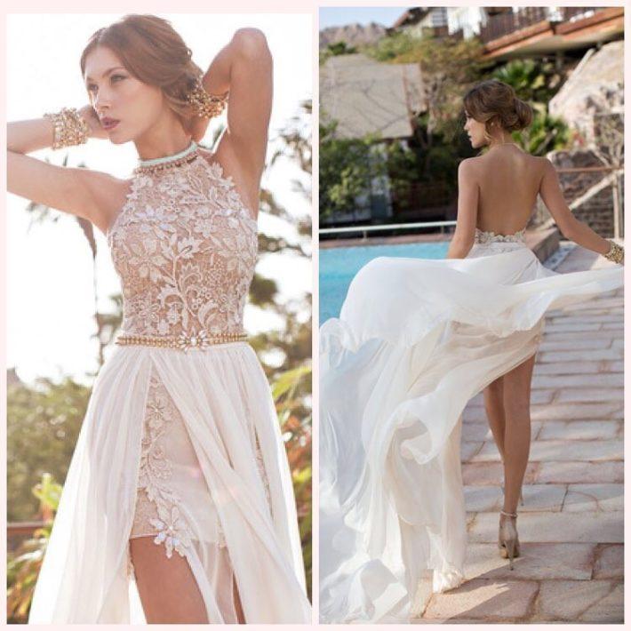 свадебное платье короткое с кружевом