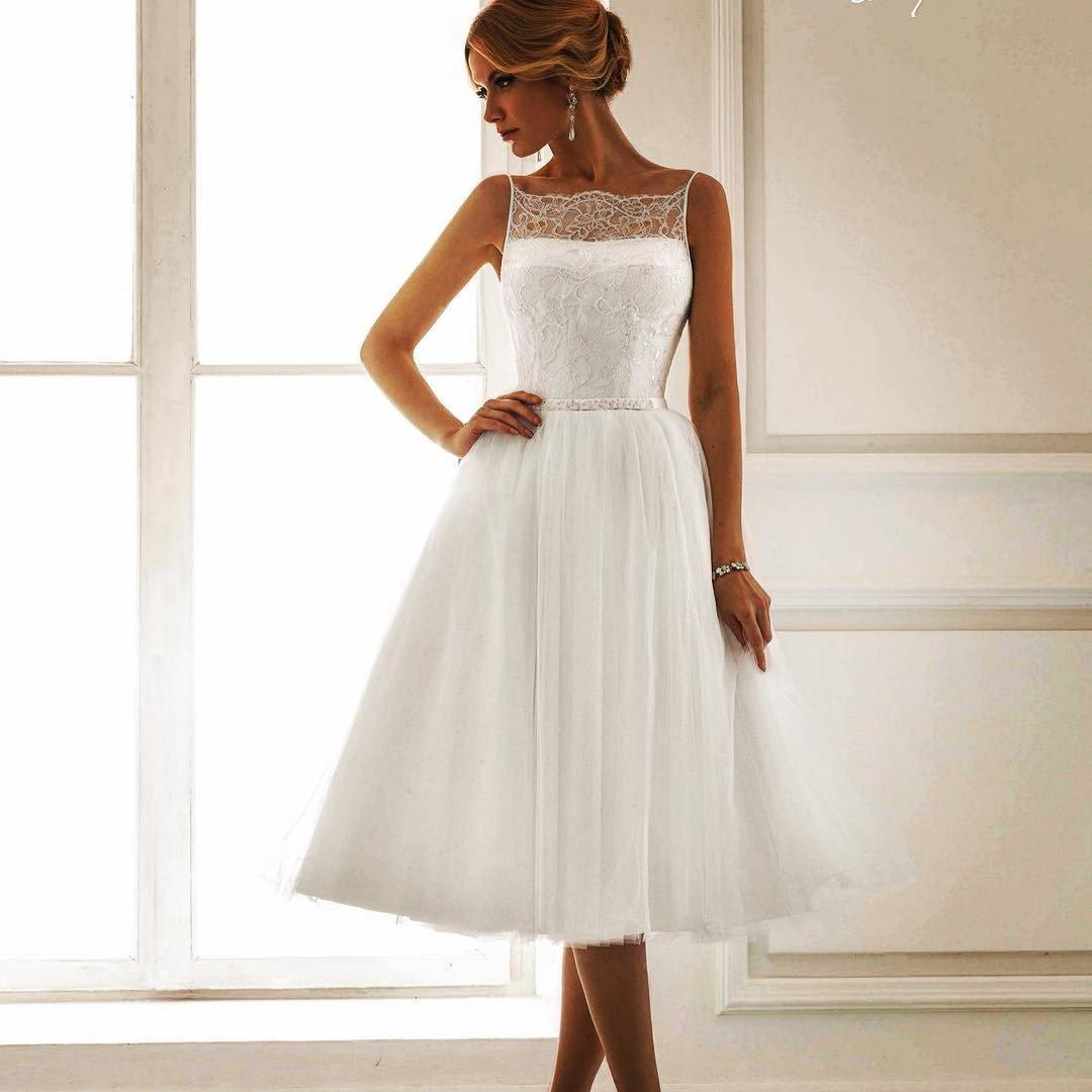 Свадебные платья средней длины фото