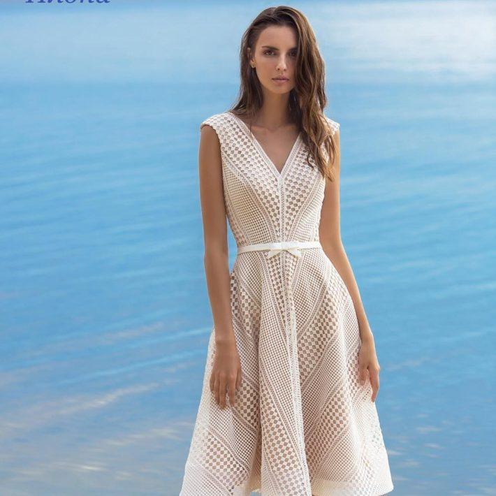 короткое свадебное платье беж