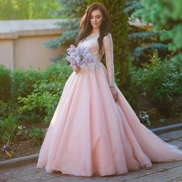 свадебные платья: розовое