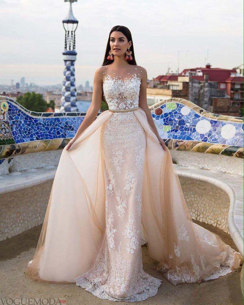 свадебное платье беж