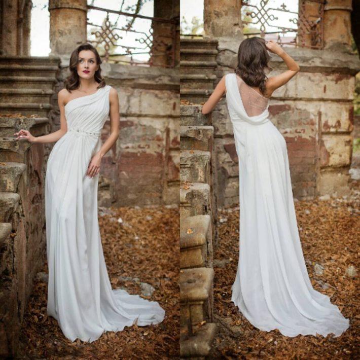 свадебное платье в греческом стиле с открытой спиной