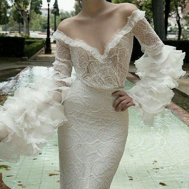 свадебное платье с рукавами-воланами