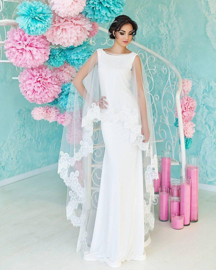 тенденции свадебных платьев: с накидкой