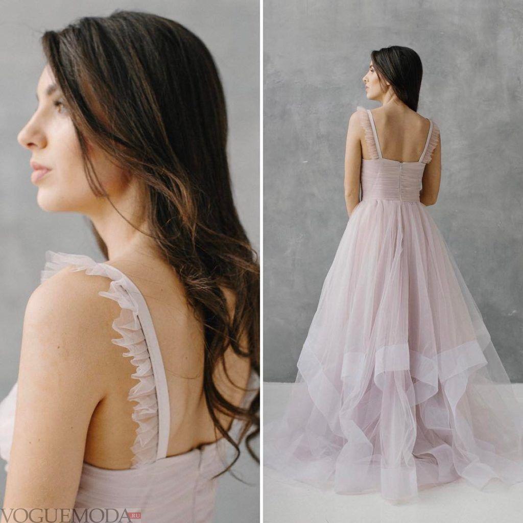 свадебное платье с воланами нюдовое