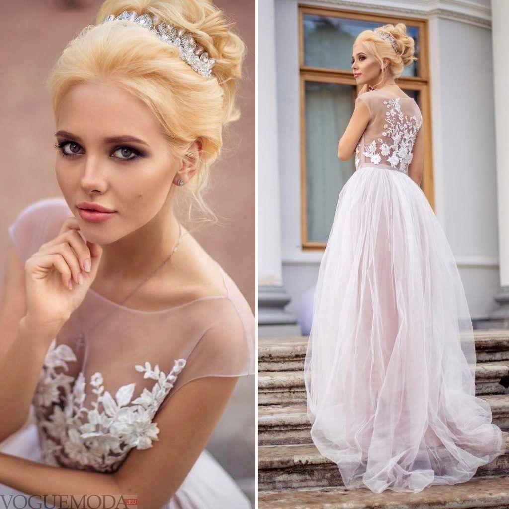 свадебное платье кружевным топом
