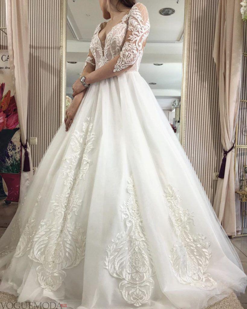 свадебное платье пышное с вырезом