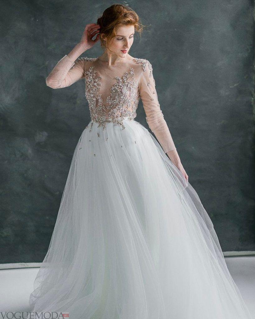 свадебное платье с прозрачным вырезом